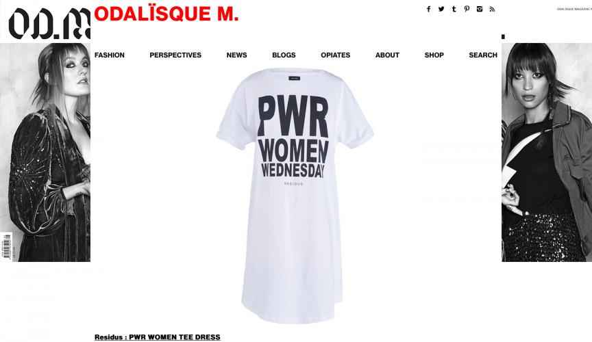 Odalisque magazine featured residus power women t-shirt
