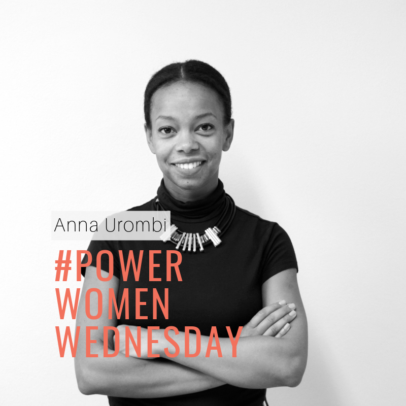 Anna Urombi in black and white