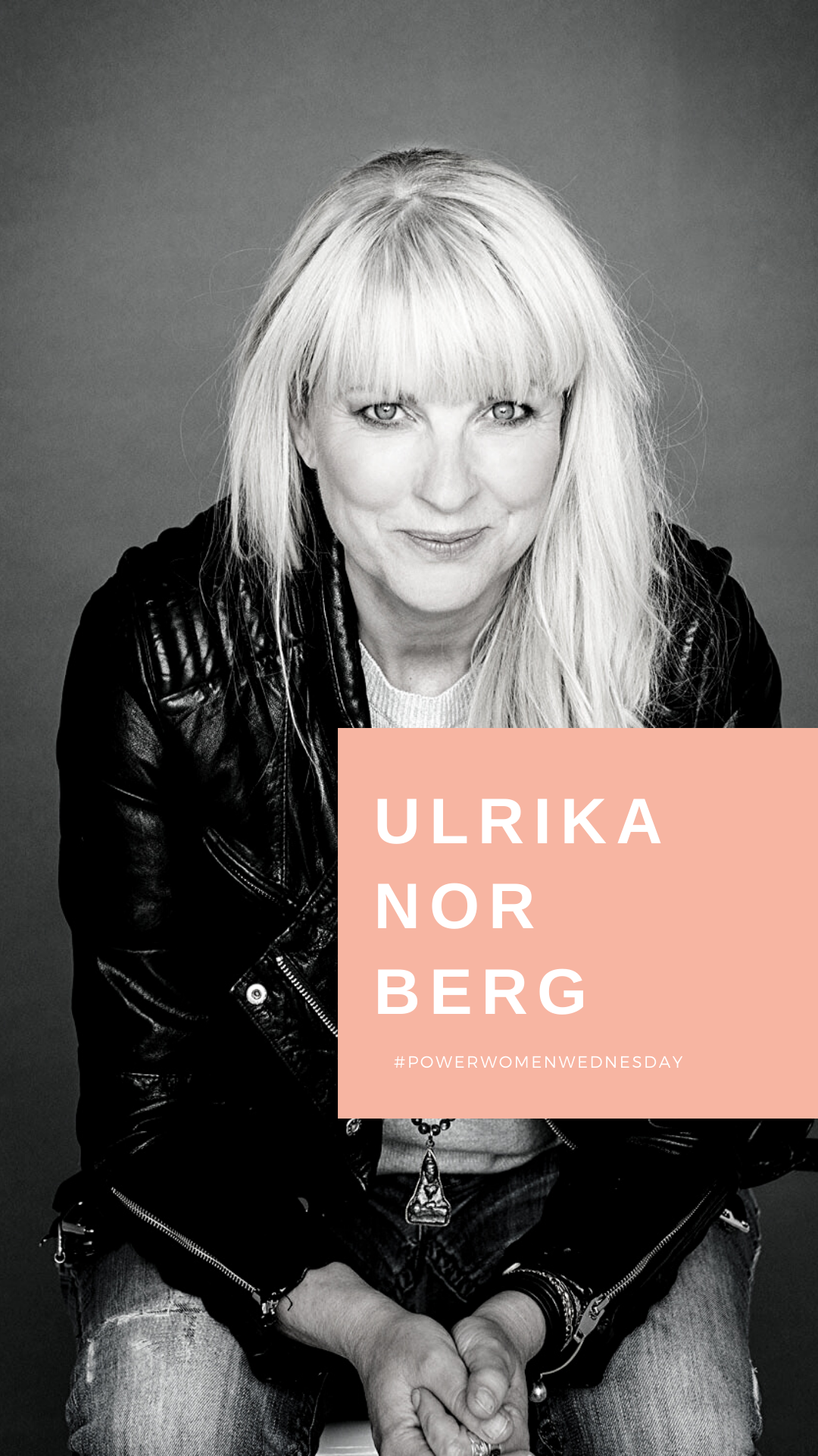 Ulrika Norberg in leather jacket and jeans