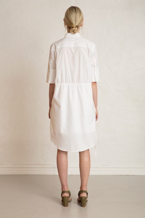 Bonnie Popover Dress White from the back