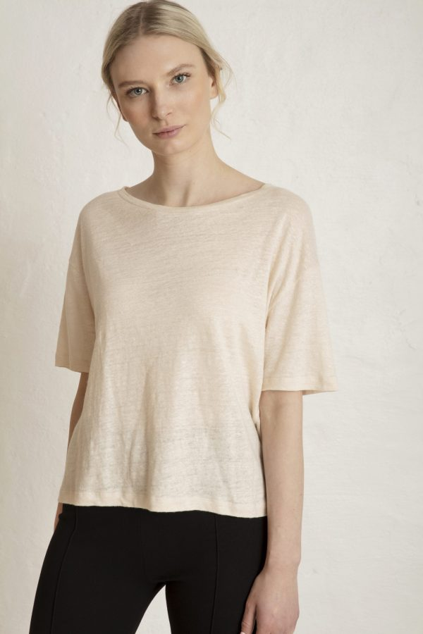 Raya Linen Tee in White Sand - Luxury that doesn't fuck up our planet