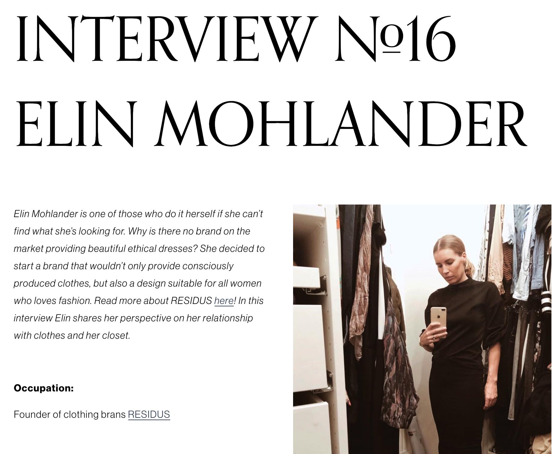 Intervju gällande en hållbar garderob