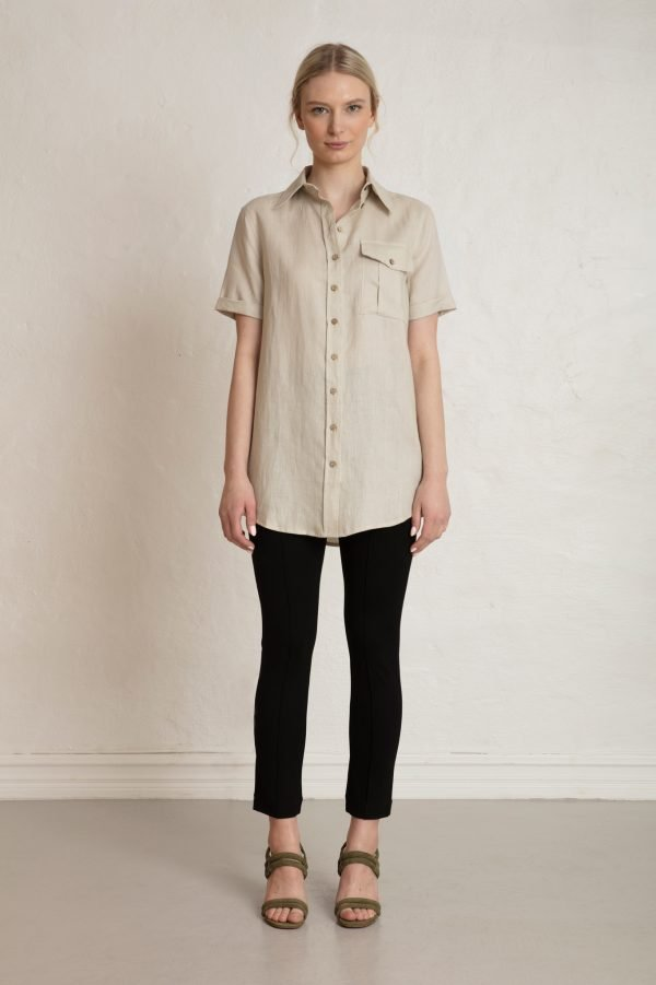 Pine Linen Shirt with Lou Ecovero Straight Pants by Residus