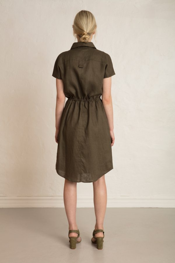 Wood Linen Dress Dark Pine from behind
