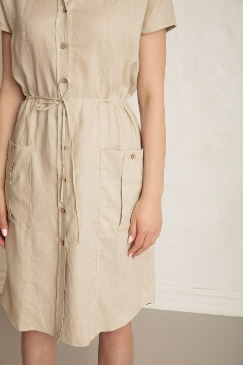 Wood linen dress in sand stone pocket detail