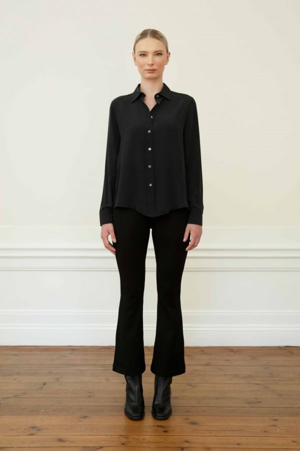 Winona silk shirt in black with Lana ecovero flared pants in black