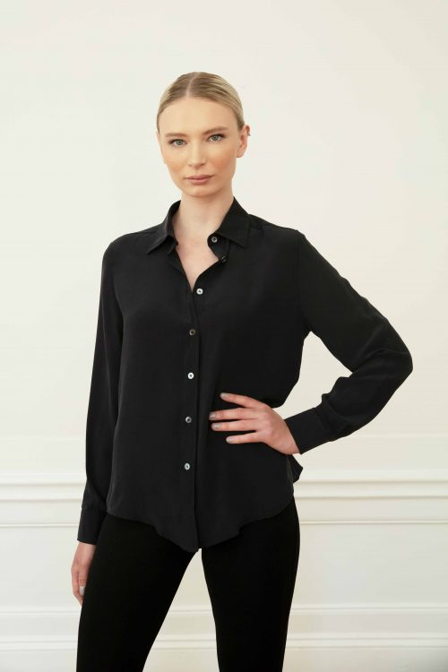 Blond girl wearing winona silk shirt in color black