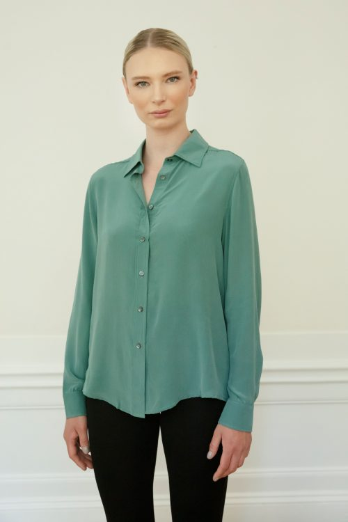 Residus Winona Silk Shirt in Stone Green front close up