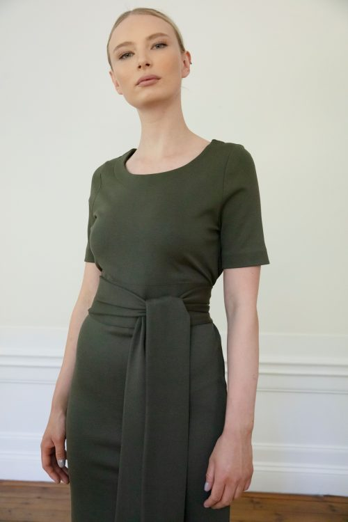 Residus dress Lilith Ink Green front detail