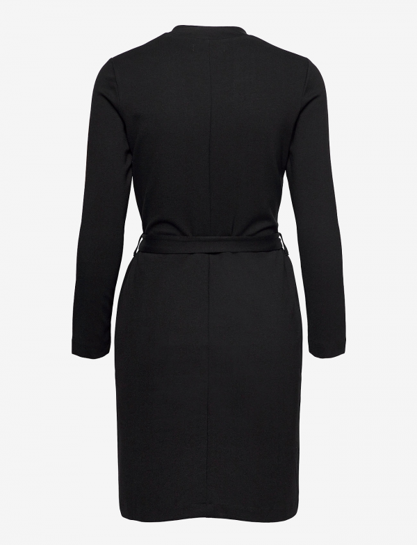 LEAR ECOVERO DRESS BLACK WITH BELT AND POCKET FROM BEHIND