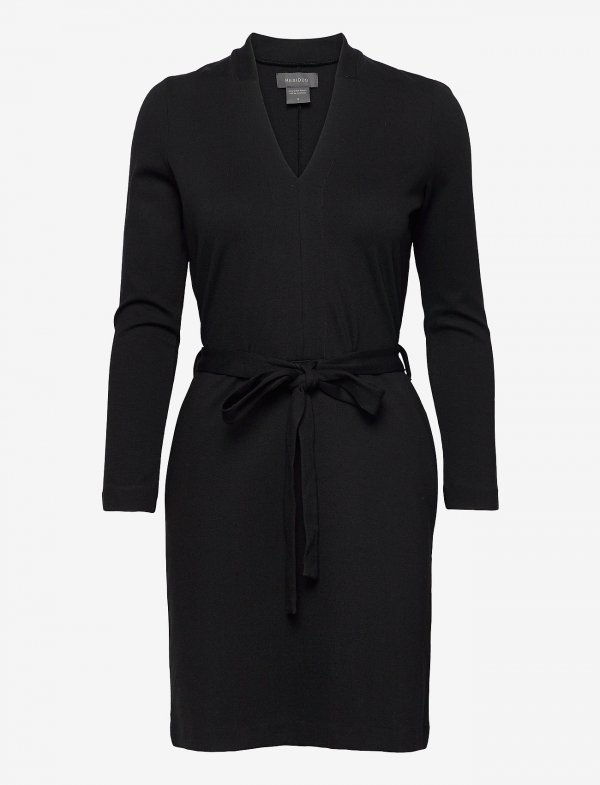 LEAR ECOVERO DRESS BLACK WITH BELT AND SIDE POCKETS