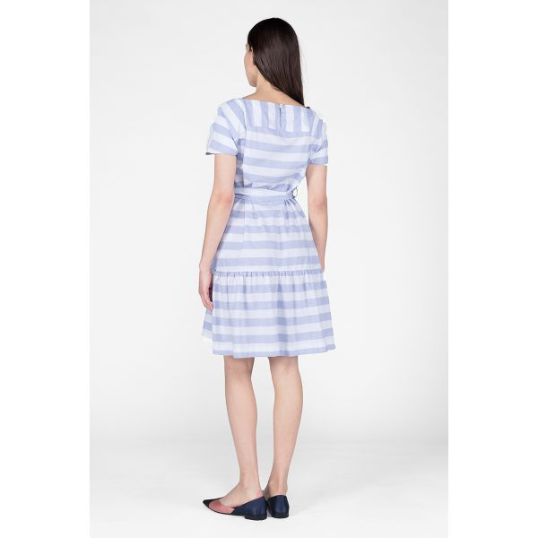 Maya Oxford Blue Dress from the side, tied