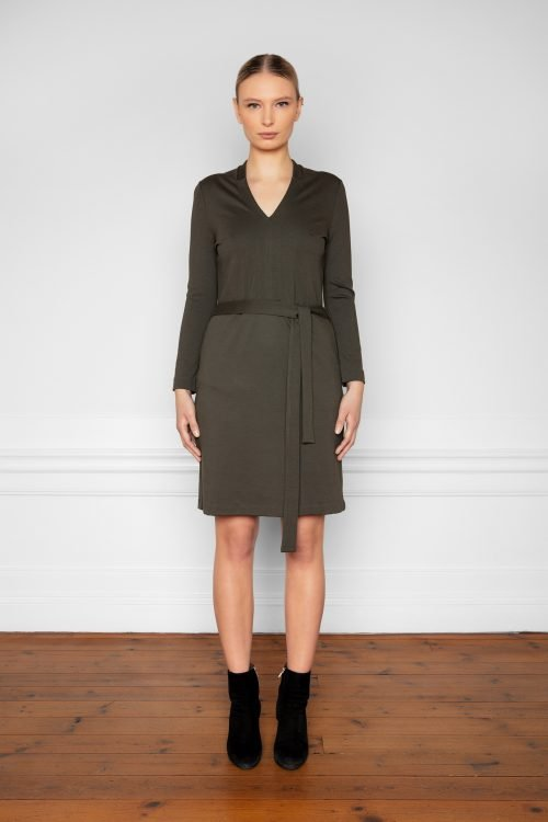 Lear Ecovero Dress Ink Green from the front
