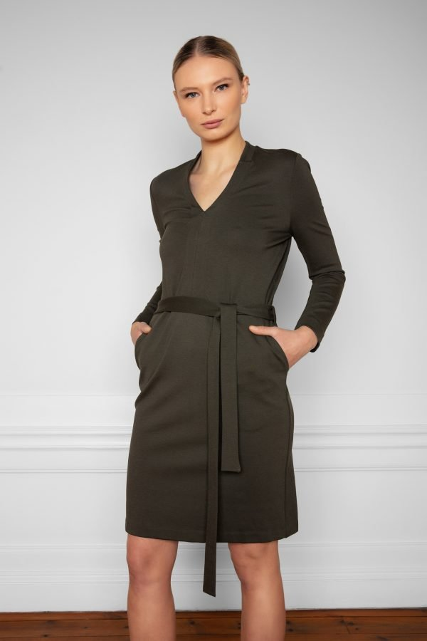 Lear Ecovero Dress Ink Green with pockets
