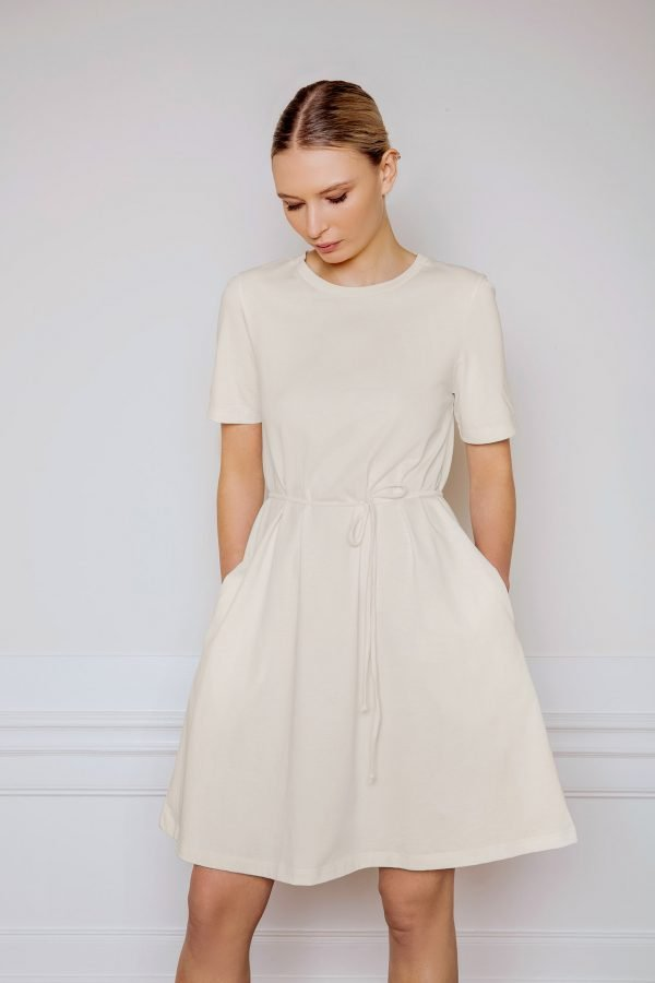 Girl wearing Ofelia Cotton Dress in color shell