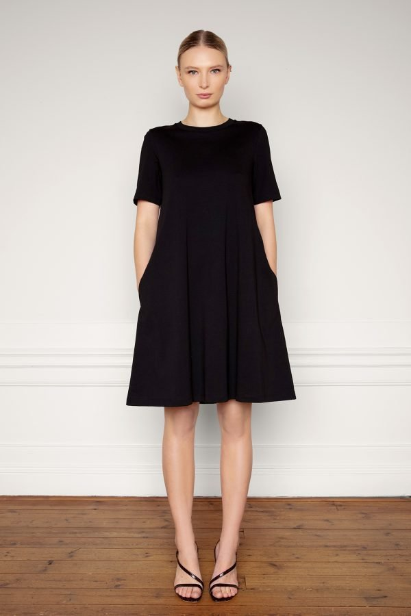 Ofelia Organic Cotton Dress Black untied for the front