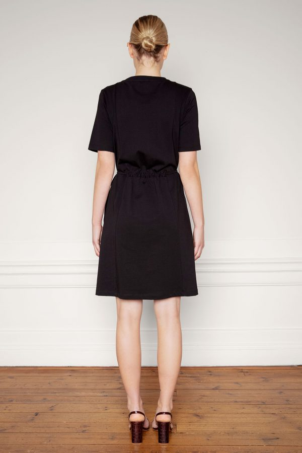 Ofelia Organic Cotton Dress Black tied from the back