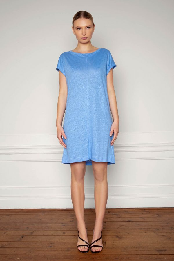 Winnie Linen Dress Corn Blue from the front