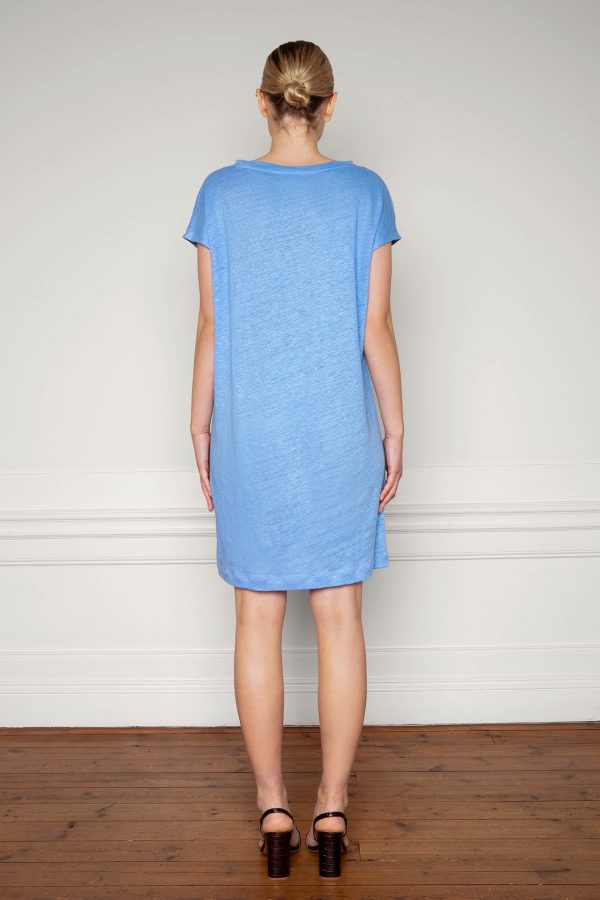 Winnie Linen Dress Corn Blue from the back