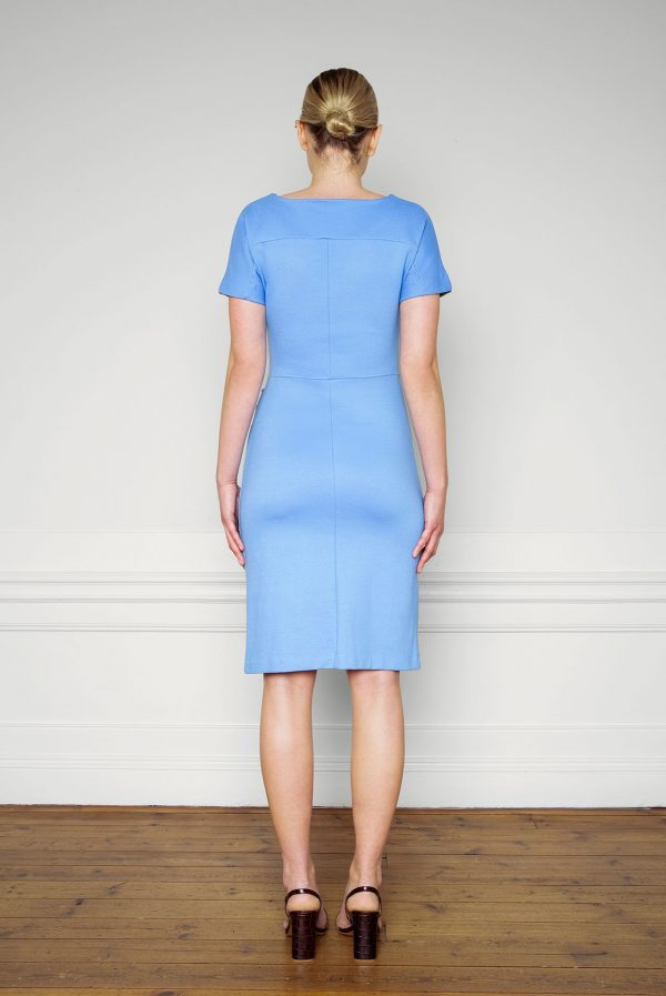 Eve Ecovero Dress Corn Blue from the back
