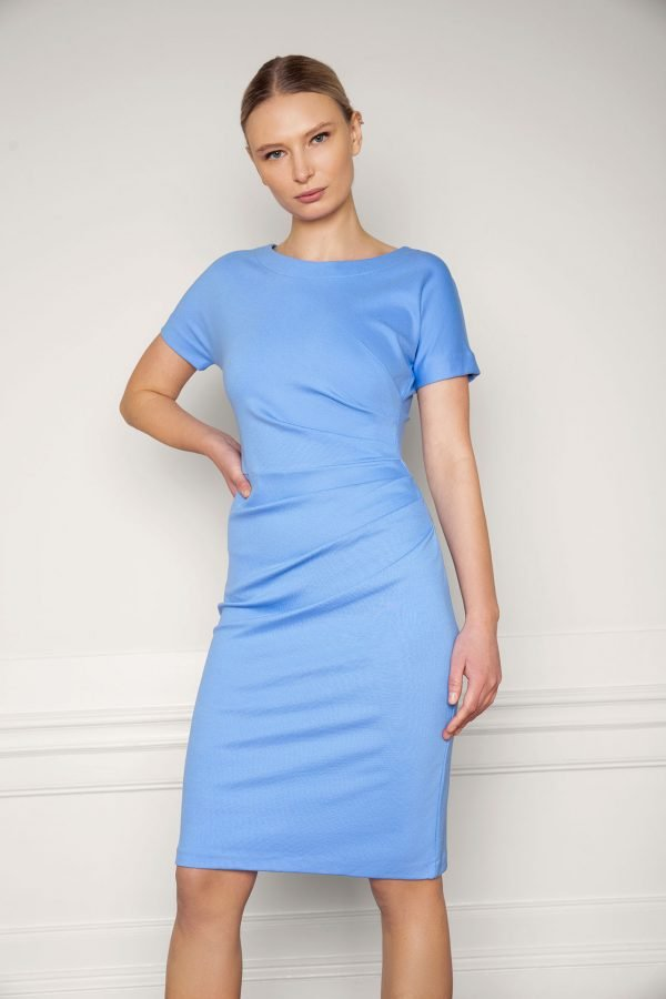 Girl wearing Eve Ecovero Dress in color Corn Blue