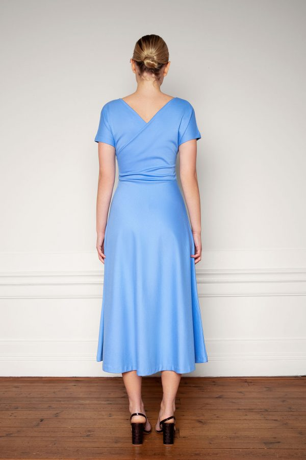Anis Ecovero Dress Corn Blue from the back