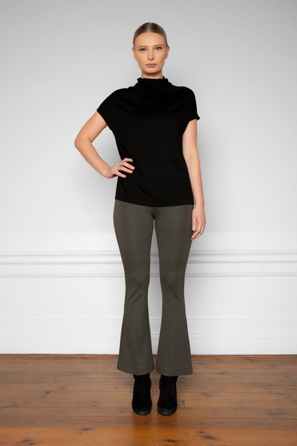 Luca Tencel Top Black with Lana Ecovero Flare Pants Ink Green from the front