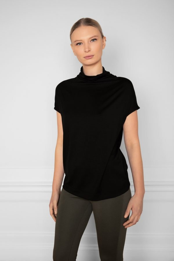 Luca Tencel Top Black with Lana Ecovero Flare Pants Ink Green