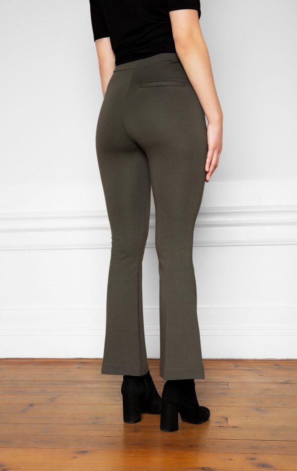 Lala Ecovero Flare Pants Ink Green from the side