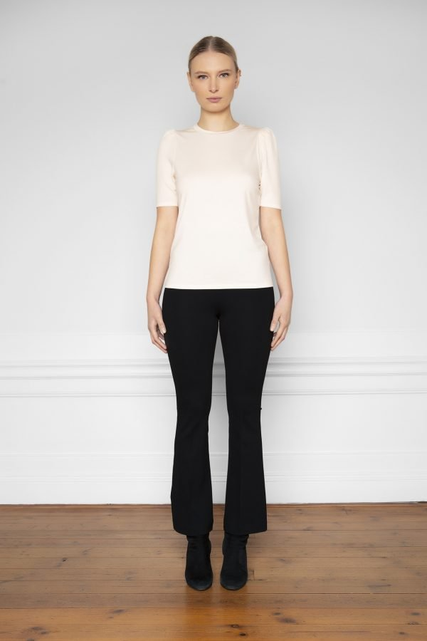 Tu Puff Sleeve Top Shell and Lana Ecovero Flare Pant Black from the front