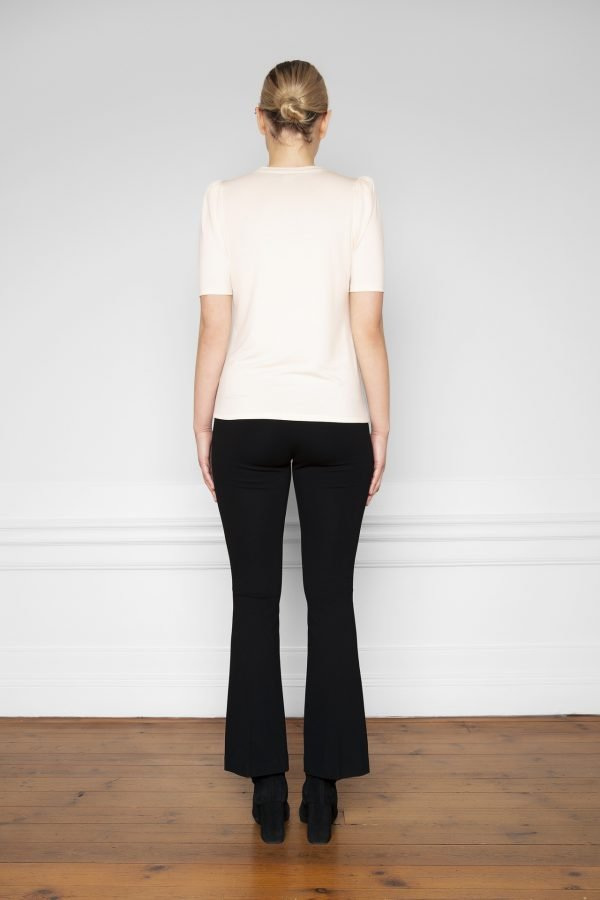 Tu Puff Sleeve Top Shell and Lana Ecovero Flare Pant Black from the back
