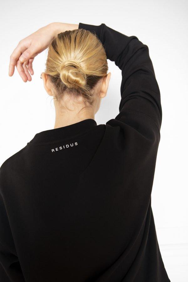 RICON Sweatshirt Black with back neck RESIDUS Logo print