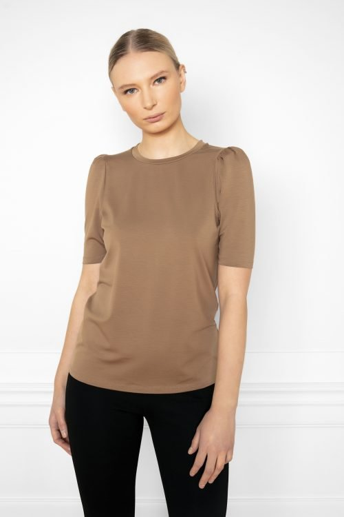 Girl wearing Tu Puff Sleeve Top in color Mole