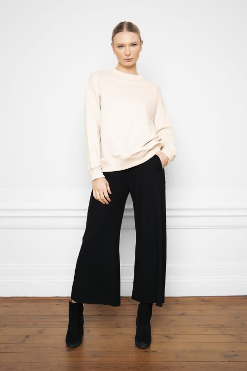 Lottie Ecovero Pants Black and Ricon Whitesand Sweatshirt from the front