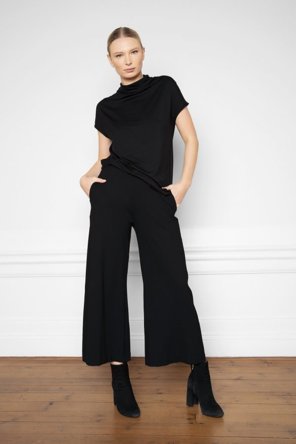 Lottie Ecovero Pants Black and Luca Tencel Top Black from the front