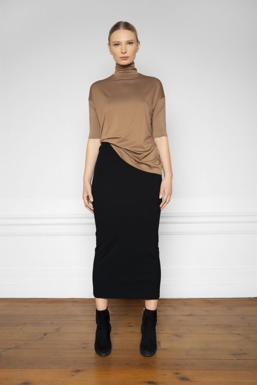 Lala Ecovero Black Skirt and Tomasine Tencel Turtleneck Mole from the front