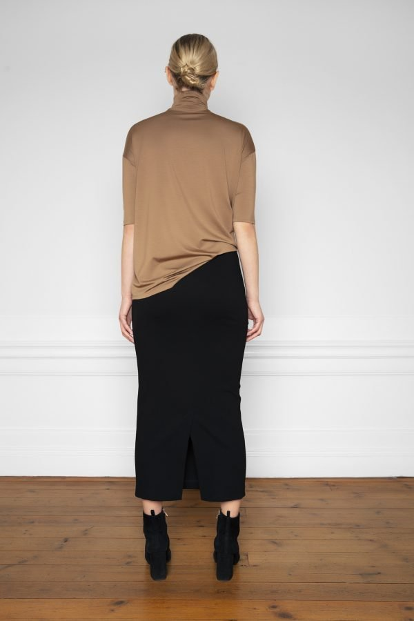 Lala Ecovero Black Skirt and Tomasine Tencel Turtleneck Mole from the back