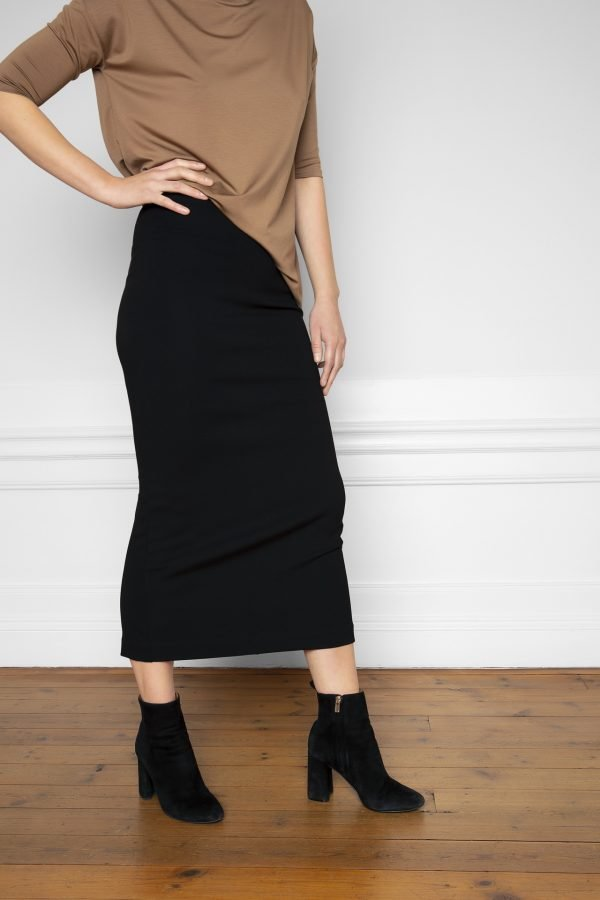 Lala Ecovero Black Skirt with heels and Tencel Top in Mole