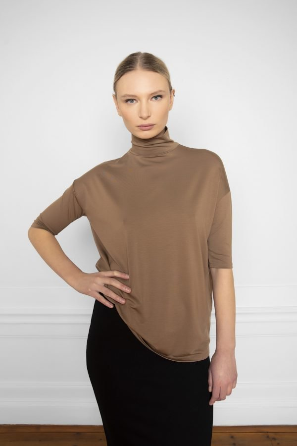 Tomasine Tencel Turtleneck in color Mole with Lala Skirt in color Black
