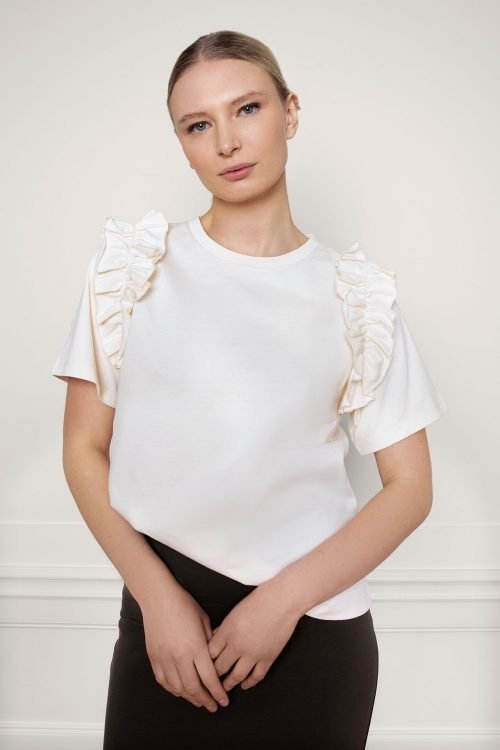 Opal Organic Cotton Ruffle Tee in color shell