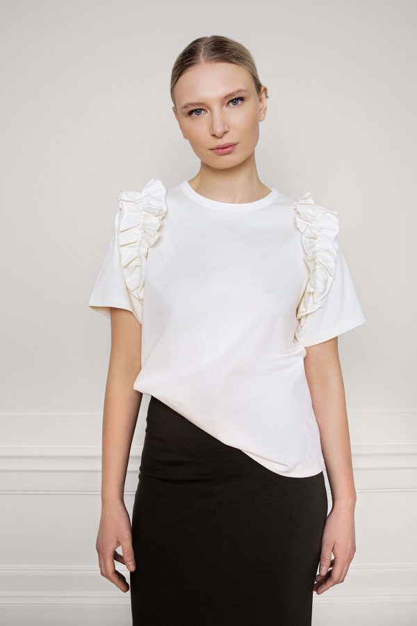 Opal Organic Cotton Ruffle Tee Shell from the fornt