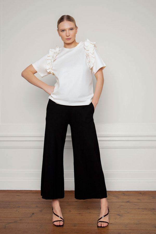 Opal Organic Cotton Ruffle Tee in Shell with Lottie Ecovero Black Pants