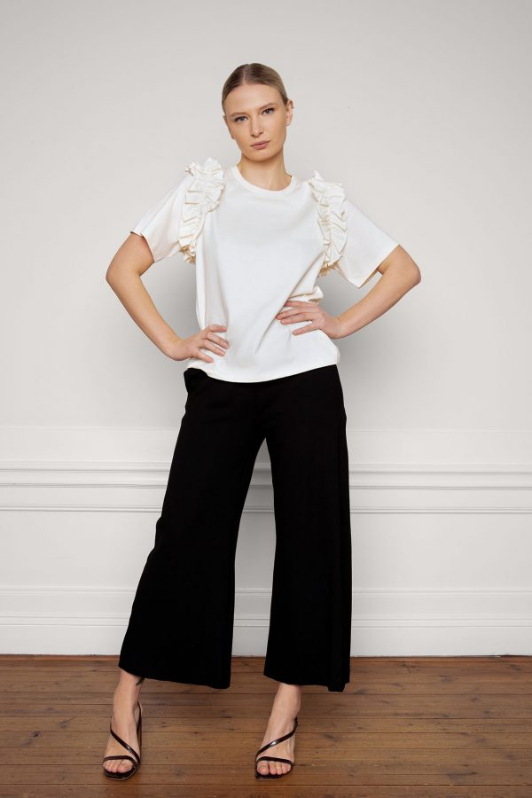 Opal Organic Cotton Ruffle Tee in Shell and Lottie Ecovero Black Pants