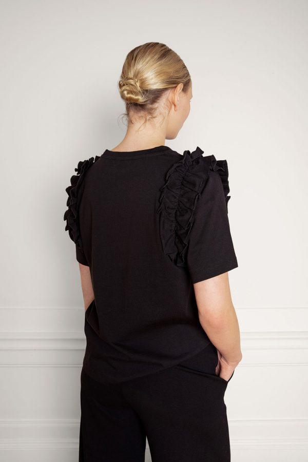 Opal Organic Cotton Ruffle Tee in Black from the side