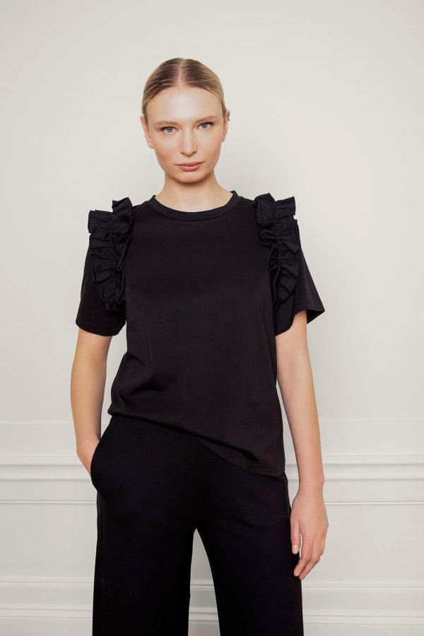 Opal Organic Cotton Ruffle Tee in Black from the front