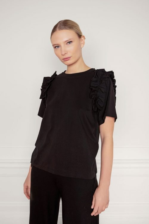 Opal Organic Cotton Ruffle Tee in Black from the frontside