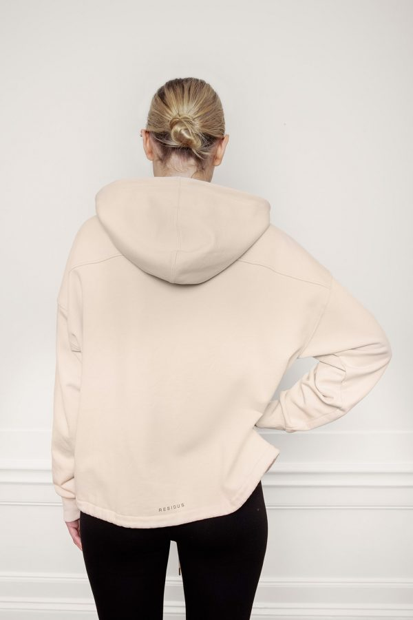 RobinSweat Jacket White Sandfrom the back with logo print RESIDUS