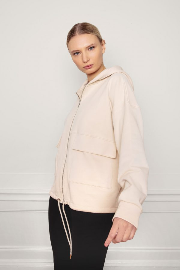RobinSweat Jacket White Sandfrom the side