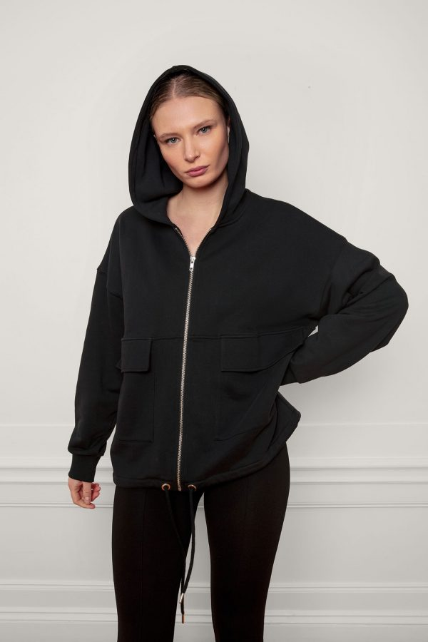 RobinSweat Jacket Black with hood on front