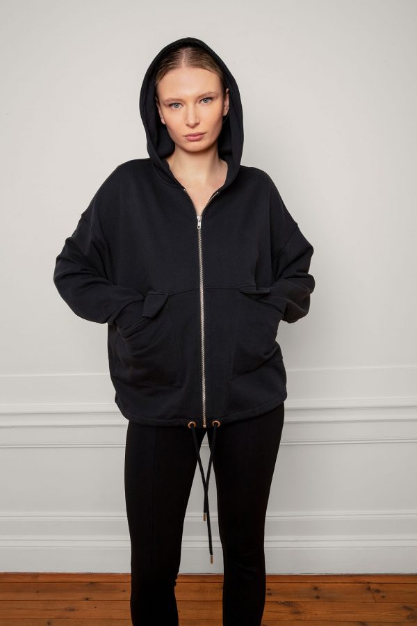 RobinSweat Jacket Black with hood on, front zip, pockets